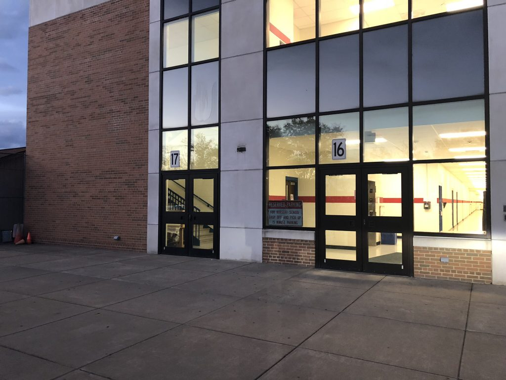 Outside of the school building and door 16