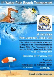 Event poster for water polo in Dubai
