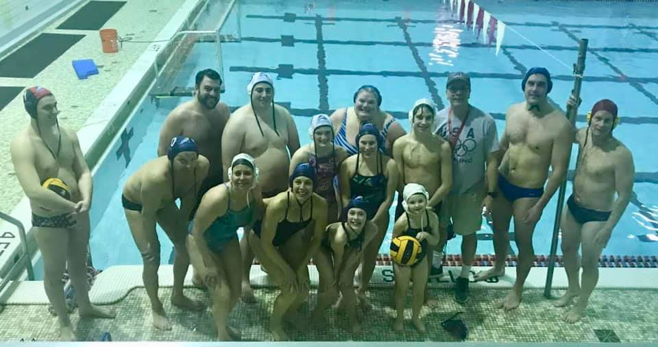 Group photo of Tuesday night water polo at CV.